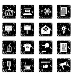 Advertisement set icons grunge style vector