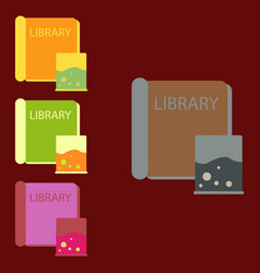 Ancient library books collection vector