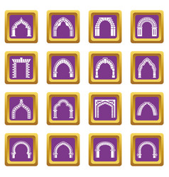 arch types icons set purple square vector image