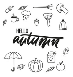 autumn doodle icons vector image