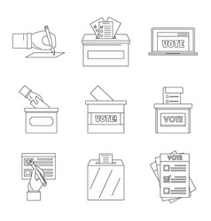 Ballot voting box vote icons set outline style vector
