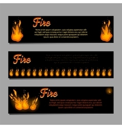 Banners set with bright fire flame vector image