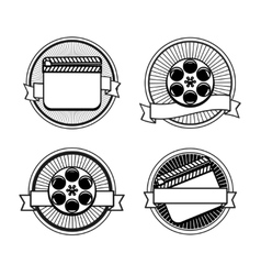 Black and white movie stamps icons vector