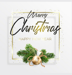 black inscription and gold christmas wreath vector image