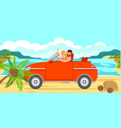 boy and girl travel by car to sea vector image