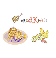 Breakfast with fruits and pancakes vector