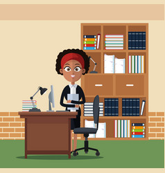 business woman at office cartoons vector image