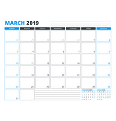 Calendar template for march 2019 business planner vector