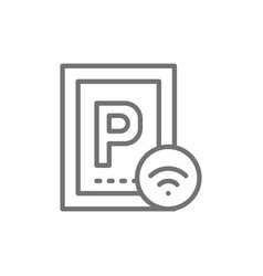 car parking with wi-fi smart parking area line vector image