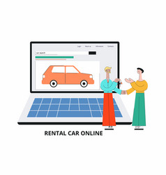 car search website - cartoon salesman giving car vector image