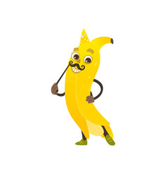 cartoon banana character with mustache vector image