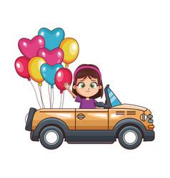 Cartoon girl in a sport car with balloons vector