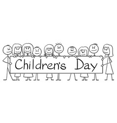 cartoon group children holding big sign vector image