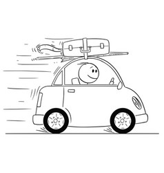 cartoon of smiling man going in small car on vector image
