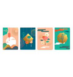 chinese lantern abstract gold pastel poster set vector image