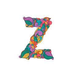 Colorful ornamental alphabet letter z font vector
