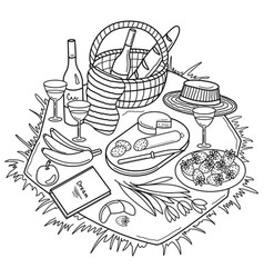 Coloring picnic basket with bottle of wine vector
