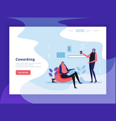 coworking flat landing page vector image