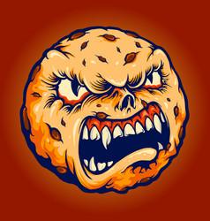 creepy cookies monster chocolate cake halloween vector image