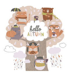 cute animals sit on autumn tree on white vector image