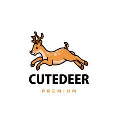 Cute deer cartoon logo icon vector