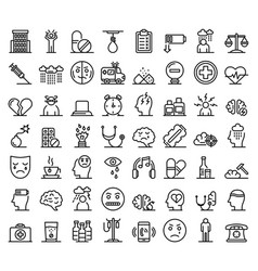 Depression icons set outline style vector