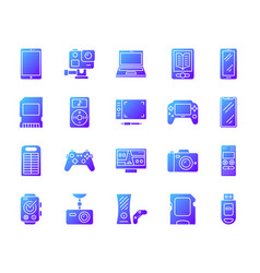 device simple gradient icons set vector image