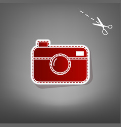 digital photo camera sign red icon with vector image