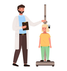 doctor measures child s height little vector image