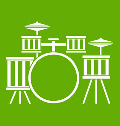 Drum kit icon green vector