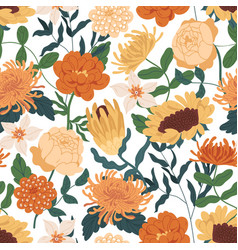 Elegant seamless floral pattern with fall flowers vector