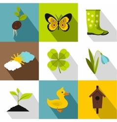 Farming icons set flat style vector image