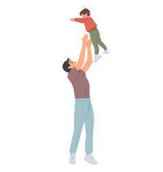 father throwing his son man throws little boy up vector image