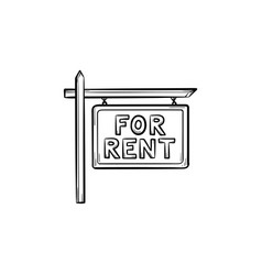 For rent sign hand drawn outline doodle icon vector