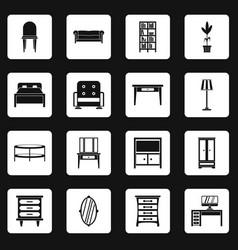 furniture icons set squares vector image