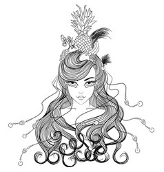 Girl with hairdress fruits vector