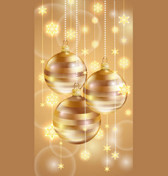gold christmas balls and stars vector image