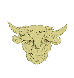 Green bull cow drawing vector