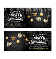 Greeting card merry christmas party poster banner vector