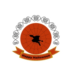 Halloween logo sign with silhouette of witch head vector