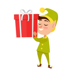 happy elf with big present on white background vector image