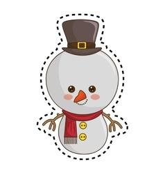 Happy merry christmas snowman kawaii style vector