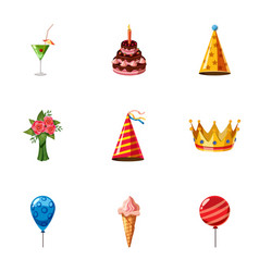 Holiday birthday icons set cartoon style vector
