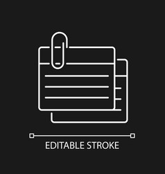 Index card white linear icon for dark theme vector