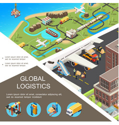 isometric global logistics poster vector image