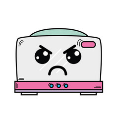 Kawaii cute angry toaster technology vector