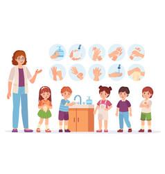 kids washing hands cartoon children at school use vector image