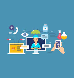 laboratory research online consultation medicine vector image