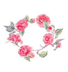 Lace wreath with camellia flowers vector