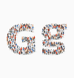 Large group people in letter g form vector